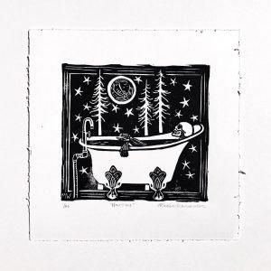 "Now Time 8.5 x 8.5"" Lino Print"