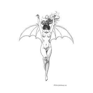 The Bat Woman Study Digital Fine Art Print